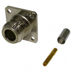 82-5372 Type-N Female Crimp Connector, Straight, 4 Hole Flange Panel Mount, (Industrial Version) APL/RF