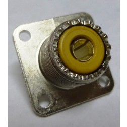 83-1R UHF Female 4 Hole Flange Chassis Mount Connector, Solder Cup (SO239/A), Amphenol/RF