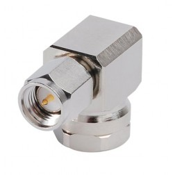 F1TSR SMA Male Right Angle Connector, FSJ1-50 (Good to 6 GHz), Andrew