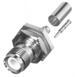 RP1212-C Connector, TNC Reverse Polarity, Female Bulkhead Crimp, Cable Group C. RG58, LMR195, RF Industries