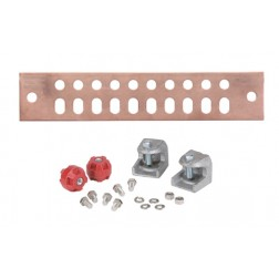 "UGBKIT-0210 Ground buss bar, 2x10 hole, 1/4""x 2""x 10"" w/hardware, Andrews"