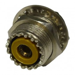 HC239 UHF Female Bulkhead Chassis Connector, W/solder cup bakelite,