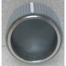 """KNOB1M  Tuning Knob with Pointer, Light Gray with Chrome ring & White Pointer, 1/4"""" Shaft"""