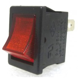 R19-001 Rocker Switch, SPST, 6a 250vac, Red Illuminated