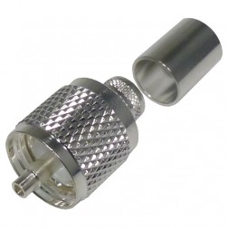 RFU507-ST UHF Male Crimp Connector, (PL259), Cable Group E, Silver, RFI
