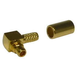 RMX9010-1A Connector, MMCX Male Right Angle Crimp,  Cable Group A. RG178/U, RF Industries