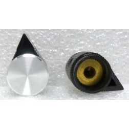 RN205F-MD  Knob, Black w/Arrow Pointer, Chrome Cap, Raytheon