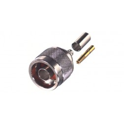 RP1005-C Connector, Type N Reverse Polarity Male Crimp, Cable Group C. RG58/U, LMR195 RF Industries