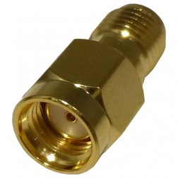 RP3405-1 Between Series Adapter, RP SMA Male to SMA Female, Gold, RFI
