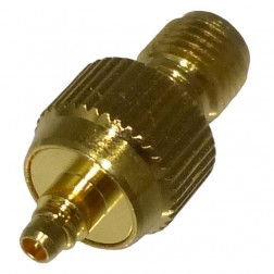RP3408-1 Reverse Polarity Between Series Adapter, RP SMA Female to MMCX Female, Gold, RF Industries