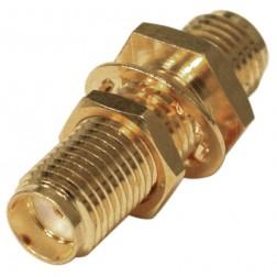RSA3410-1 In Series Adapter, SMA Female to Female Bulkhead, Gold, RFI