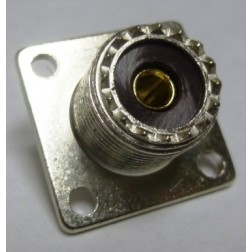 83-1R-B UHF Female 4 Hole Flange Chassis Mount Connector, Solder Cup (SO239), Amphenol/RF