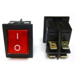 T120-2WI-XII  Rocker Switch, DPST(4P) RED on/off, Dreefs