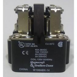 W199ABX-14  Relay, DPDT,  40amp/28vdc, 10amp/110vdc, 120v COIL, Magnecraft