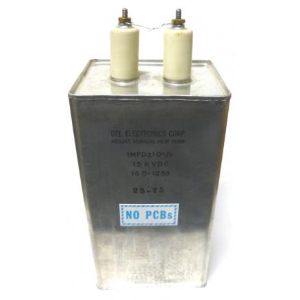 160-1253  1uf 15kvdc Oil Filled Capacitor, Del Elec