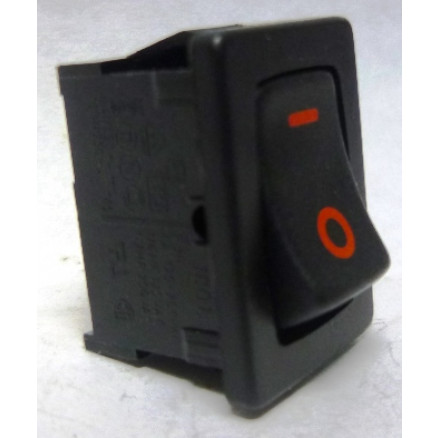 1801-R Rocker Switch, SPST, 6a 250vac (Red Lettering)
