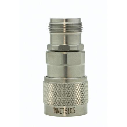 5105 In Series Adapter, Type-N Male/Female, 0-18 ghz, Stainless Steel, API/Inmet