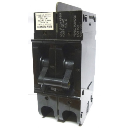 CD2-A3-DU-0100  Circuit Breaker, 100a, 240vac, 2 Pole, Heinemann NOS (5925-01-377-2041)