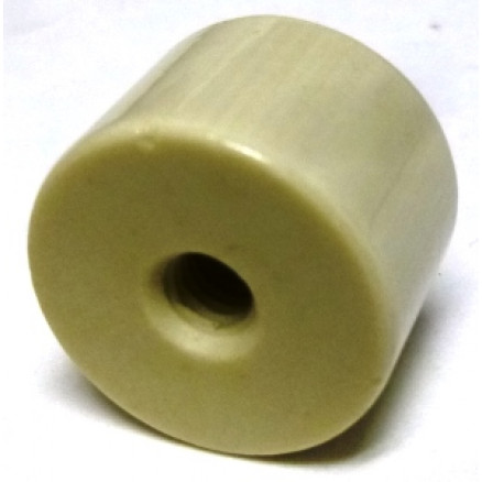 "NL523W03-0515 Standoff Insulator, Glazed Ceramic, 1/2"" Long x 3/4"" Diameter with Threaded Mounting Holes"