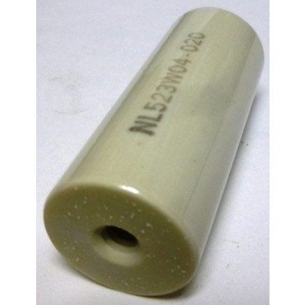 "NL523W04-020 Standoff Insulator, Glazed Ceramic, 2 1/2"" Long x 1"" Diameter with Threaded Mounting Holes, HH Smith"