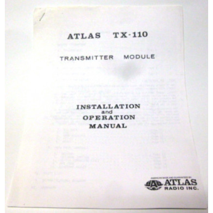 SMATX110  Installation and Operation Manual for Atlas TX-110 Radio