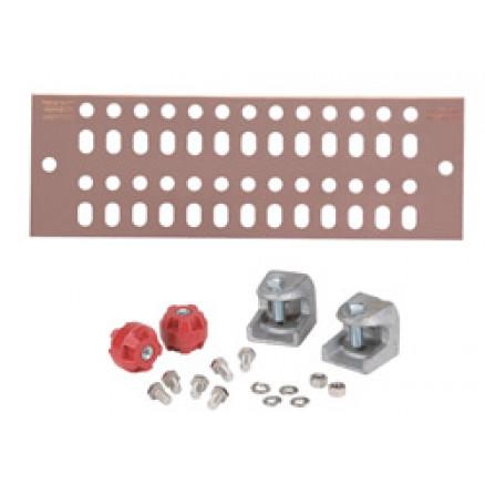 """UGBKIT-0412 Ground buss bar, 4x13 hole, 1/4"""" x 4"""" x 12"""" w/hardware.  Andrew"""
